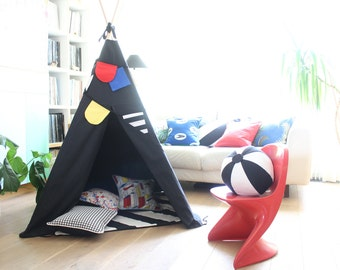 Teepee Tent | MIDI size | Black Canvas Drill | primary col bunting