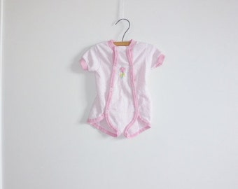 SALE // Vintage Pink Polka Dot Baby Girl Romper