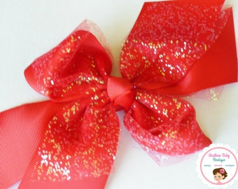 BOW BLOWOUT---X-Large Boutique Double Layered Hair Bow Clip---Red---Glitter Tulle Bow Collection