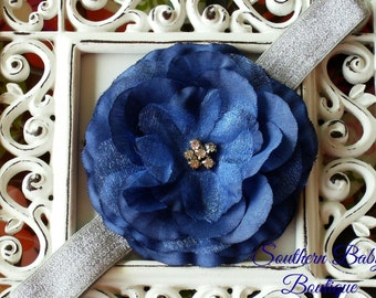 NEW ITEM---Boutique Baby Girl Toddler Soft Stretch Headband Rhinestone Flower---Navy Blue and Silver