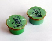 "Vintage Art Deco Green Pearlized Celluloid Rouge Pots - Flapper Makeup Containers - Vanity Items - Glass Liners - ""Cracked Ice"" 1920s 1930s"