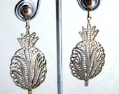 Vintage Cannetille Spun Sterling Silver Filigree Pineapple Dangle Post Earrings - Antique Wire Work - Early 20th Century - Intricate Ornate