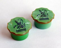 """Vintage Art Deco Green Pearlized Celluloid Rouge Pots - Flapper Makeup Containers - Vanity Items - Glass Liners - """"Cracked Ice"""" 1920s 1930s"""