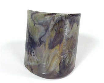 Vinyl Record Wrist Cuff Rare Marble Colored Tan, Gray, Black, White, Yellow and Pink Size Medium to Large