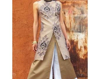 Sale Elegant tunic-The WOMAN WARRIOR TUNIC- Womens tunic-Evening wear-Wedding gown--Art to wear-Asian style-Womens clothing