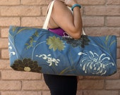 RESERVED FOR ELINOR Blue Floral Tapestry Handmade Yoga Tote, Pilates Tote, Gym Bag, Yoga Mat Bag, Yoga Carrier