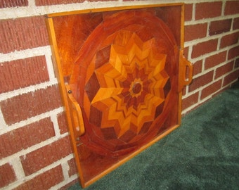 "Vintage Beautiful Folk Art Marquetry 16"" Wood Inlay Tray with Starburst Design"