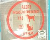 Customizable Pet Alert decal