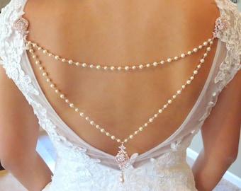 Bridal backdrop necklace, Pearl Wedding necklace, Back drop necklace attachment, Rose Gold Bridal necklace, Art deco backdrop necklace, EMMA
