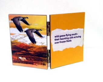 Canadian Geese Haiku Art, Decoupage Diptych, Flying Birds, Yellow White, Wildlife Home Decor, Woodland Animal, Waterfowl Decorative