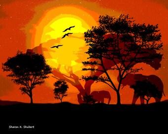 Elephant Art, Africa Safari, Digital Photomontage, Serengeti Home Decor, Orange Yellow Black, Sunset Wall Hanging, Giclee Print, 8 x 10