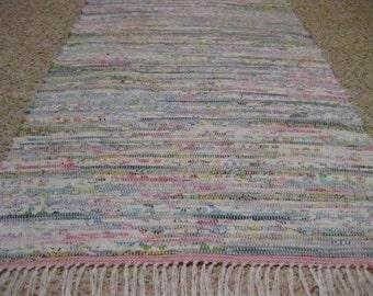 Handwoven Pastels Rag Rug 25 x 50