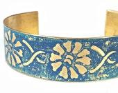Cuff Bracelet, Etched Brass Cuff Blue Flower Bracelet