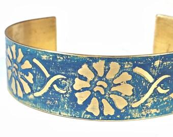 Etched Brass Cuff Blue Flower Bracelet