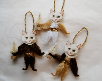 Cat Christmas Chenille Ornaments CATS Vintage Style Chenille Ornaments, Pet lover, Trio of cats (121c)