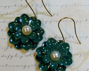 Teal Metal Daisy Earrings-2 inches or 5 cm