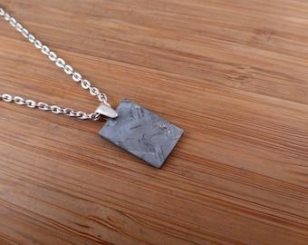 Seymchan Iron ( siderite) Meteorite silver pendant