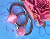 Captive Bead Rings, 14 Gauge, Pink Catseye, Nipple Rings, Multi Purpose