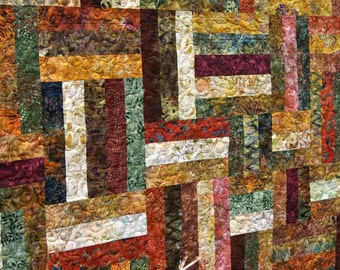 Quilt Autumn Batiks Lap Throw Patchwork Fall Scrappy Strips Green Gold Burgundy Brown Orange Cornucopia Leaves Modern