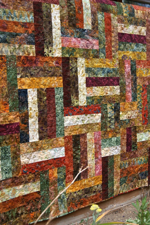 Quilt Autumn Batiks Lap Throw Patchwork Fall Scrappy Strips