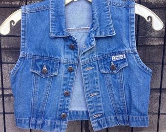 Jean Denim vest Vintage 1990s Bonjour Children's Girls Blue