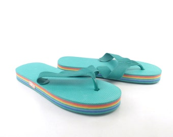 1980s Flip Flops Vintage Sandals Rainbow Stripe Foam 80s Eighties Thick Women's size 10