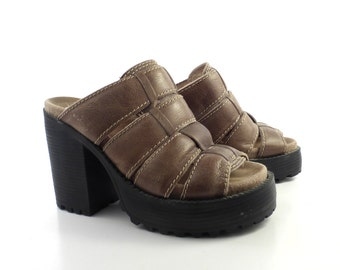 Club Kid Platform Sandals Vintage 1990 Brown Leather London Underground Shoes Women's Size 8 1/2