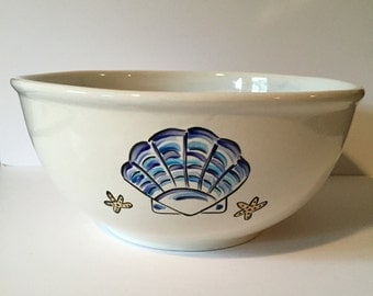 hand painted beach themed personalized custom wedding bowl