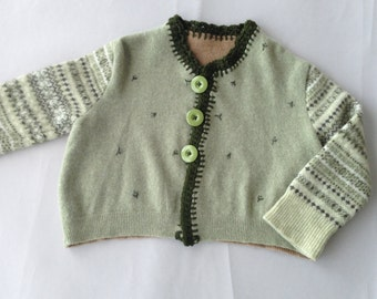 Green Cartigan with Patterned Sleeves
