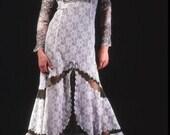 Res CheriVictorian Dress, Retro Dress, White and Gold, Lace Dress, Steam Punk Dress, Romantic Dress, Long Dress, Sheer Dress, Size Medium