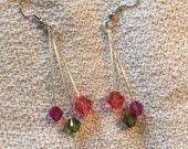 Pretty watermelon earrings. Melon, pink, and green Swarovski crystal earrings