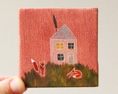 sunset house / small painting on canvas