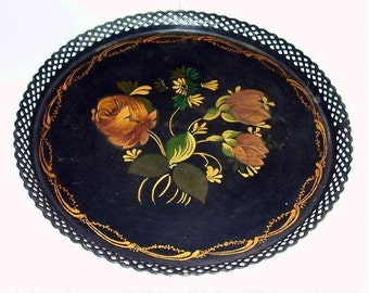 "Vintage Early Reticulated 10"" Round Hand Painted TOLEWARE Floral Tole Tray~LACE EDGE"