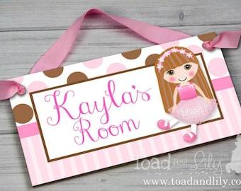 Brunette Hair Girl Personalized Kids Door Sign Chocolate Brown Pink Polka Dots and Stripes Girls Bedroom Nursery DOOR SIGN Wall Art DS0416