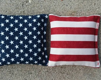 Americana Flag Stars Stripes Cornhole Bags- FREE SHIPPING - Set of 8 Flag Star Cornhole or Baggo Bean Bag Toss