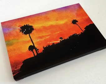 Sunset Canvas Art Print - Sunset Print - Sunset Photo - Sunset Art - Sunset Artwork - Sunset Landscape - Photo on Canvas - Watercolor 8x12
