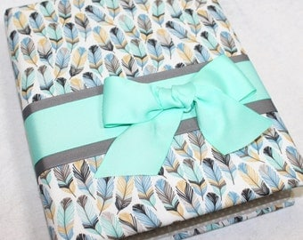 BABY Journal, Feathers, Arrows, Baby Memory Book, Baby Boy, Mint, Blue, Gray, Gold, Aztec Baby Shower, Tribal baby book, Custom