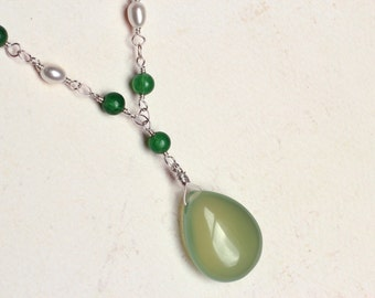 Green Chalcedony Necklace with Gemstones on Sterling Silver - Springleaf by CircesHouse on Etsy