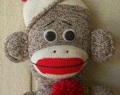 Primitive Folk Art Sock Monkey Doll Male Boy Vintage-Style Soft Sculpture Collectible Single or Set of 2 Available ofg hafair faap