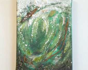art room decor abstract modern mixed media ocean wave green