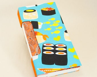 Blank Book with a Yummy Sushi Fabric Cover