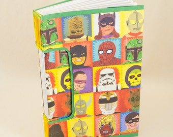 Blank Hand-bound Journal, Notebook or Guestbook with a Hero and Vilian