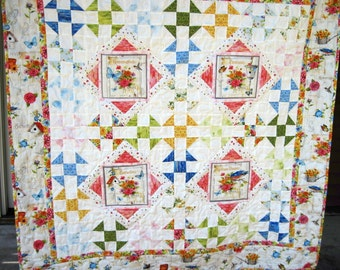 Lap quilt sofa quilt Quilted wall hanging wheel chair feminine pastel shabby chic Quiltsy handmade