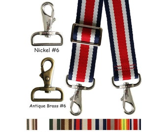 "Striped Color Cotton Canvas Webbing Strap - Adjustable - 1.5"" Wide - Choose Style, Length & Hook #6"