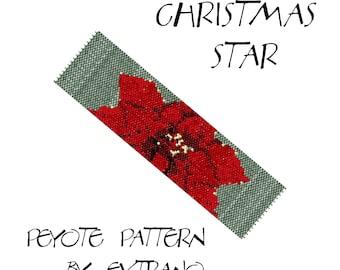 Peyote bracelet pattern - CHRISTMAS STAR - 7 colors - Instant download -