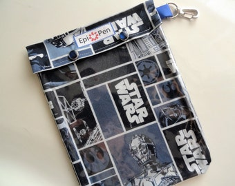 XL Epi Pen Pouch 6x8 with Clear Front Pocket, Swivel Clip, ID Card Holds 2 Allergy Injectors & 4 oz Antihistimine (Adult/Jr.) Star Wars