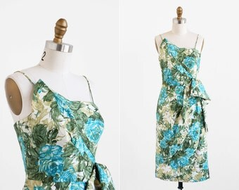 vintage 1950s dress / 50s dress / Blue and Green Roses Hawaiian Wiggle Dress by Lilli Diamond