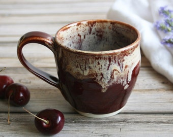 Rustic Coffee Cup Handmade Mug in Deep Cherry Red and Cream Dripping Glaze Stoneware Pottery Mug Ready to Ship Made in USA