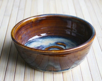 Ceramic Dog or Cat Bowl Handmade Amber Rustic Pet Dish Stoneware Pottery Made in the USA Ready to Ship