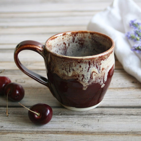 rustic coffee cup handmade mug in deep cherry red and cream